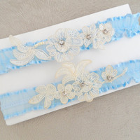 garter set, wedding garters, bridal garters, lace garters, bride, wedding accessory, blue garters,