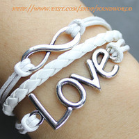 Silvery love bracelet infinity karma bracelet wish bracelet white leather bracelet -N539