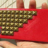 Bronze pyramid stud Pink Hard Case Cover -for Apple iPhone 4 Case, iPhone 4s Case, iPhone 4 Hard Case