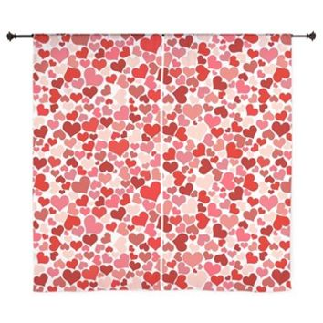 "Red Hearts 60"" Curtains> Love, Romance, Hearts> Strawberry and Hearts"