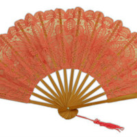 Battenberg Lace Fan, Pink