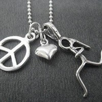 STERLING SILVER PEACE LOVE RUN - Sterling silver pendants with Sterling Silver Ball Chain