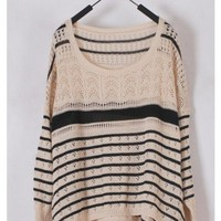 Women Euro Style Autumn Winter Long Sleeve Loose Ivory Knitting Sweater One Size@WH0136i $9.99 only in eFexcity.com.