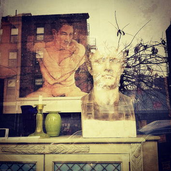 NY photography, Brooklyn, Artistic, creative 12 x 12 collage-like image, vignette layered with a reflection in the window, home decor