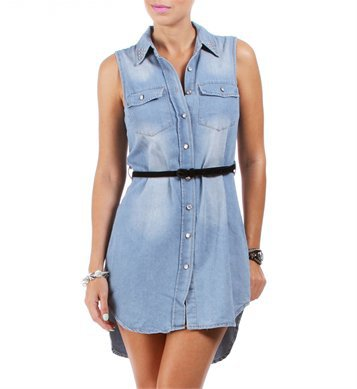Belted Light Denim Sleeveless Tunic