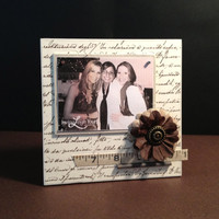 "Found Objects Frame - 6x6"" with 3x4"" Horizontal Magnetic Photo Holder - Wall or Tabletop Decor"