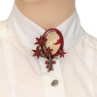 Cameo Pin - Lady Profile - Red Flower