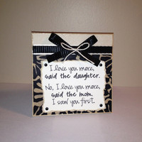 "Mom/Daughter - 5x5"" Plaque - Wall or Tabletop Decor"