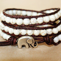 Elephant Bracelet, Leather Beaded Wrap Bracelet 3x, Elephant Jewelry, Boho Chic, Everyday Jewelry, Lucky Bracelet