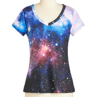ModCloth Cosmic Mid-length Short Sleeves Believe It or Astronaut Tee