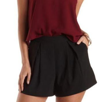 Pleated High-Waisted Shorts by Charlotte Russe - Black