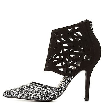 Qupid Laser Cut-Out Caged Pump by Charlotte Russe  Black