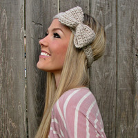 Bow Headband in Linen with Natural Vegan Coconut Shell Buttons - Adjustable