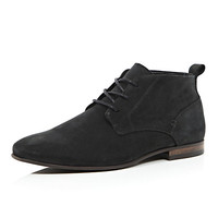 River Island MensBlack leather chukka boots