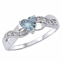 Palesa: 0.6ct Heart-cut Aquamarine Ice CZ Crossover Infinity Promise Ring, 3266A sz 8.0, 925 Silver