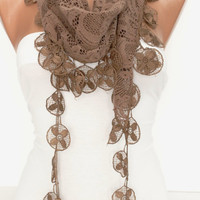 Brown Cotton Shawl Scarf - Headband -with Lace Edge - New-  DIDUCI