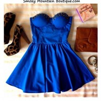 Sexy Blue Retro Bustier Dress with Studs and with Adjustable Straps