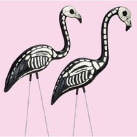 Amazon.com: Skeleton Flamingo - Pink Flamingos Painted with Black and White Bone Structure - Halloween Decoration: Toys &amp; Games