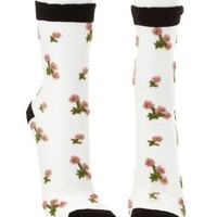 Floral-Embroidered Sheer Mesh Socks by Charlotte Russe - Black Combo