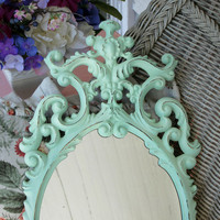 Shabby Aqua Beach Cottage Ornate Wall Mirror Medium Pastel Oval Hollywood Regency Victorian