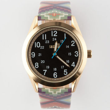 Ethnic Print Band Watch Brown One Size For Men 25193240001