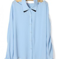 Sexy Chiffon Blue Shirt$39.00