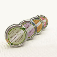 Lip Balm Set - Natural Honey Herbal Balms - Rose Garden, Honey Bee, Sweet Orange and Lavender - Back to School Gift for Teacher