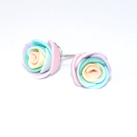 Pastel Rainbow Rose Polymer Clay Earrings