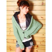 Single-breasted Green Knitting and Wool Blends Hoodie Clothing Lady One Size Sweater @T622gr