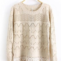 Round Neck Long Sleeve Begie Sweater$39.00