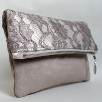 Lace clutch, fold over clutch, lace and suede fabric
