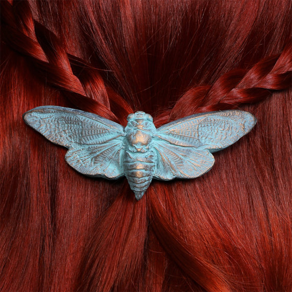 Cetonia Designs Cicada Barrette- Patina Finish