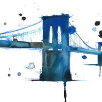 Watercolor Illustration Brooklyn Blues by JessicaIllustration