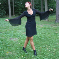 80s black dress goth witch vampire sexy medieval mod size large