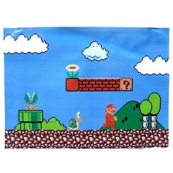 Large Upcycled Vinyl Classic Super Mario Video Game Themed Print Clutch Bag | Handmade | redditgifts