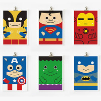 Super hero art prints by loopzart on Etsy