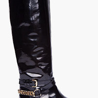 McQ Alexander McQueen Black Patent Riding Boots for Women | SSENSE