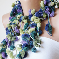 Grape tones Cocoon, Curly Mulberry- Ponpon Scarf-Ready for Shipping-Green, purple tones
