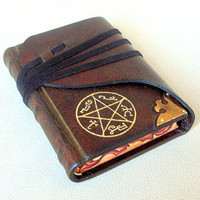 Leather Journal, Sketchbook, Dark Brown Leather, Brass Corner, Painted Edges, Gilded Pentacle