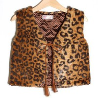 smilekids | Girls Faux Fur Quilt Lined Brown Animal Print Vest - 2 to 10 years Available | Online Store Powered by Storenvy