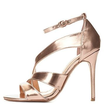 Curved Metallic Dress Sandals by Charlotte Russe - Rose Gold