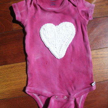 Unique Hand-dyed Baby Onesuit with Heart Applique, long-sleeve