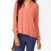 High-Low Lace Panel Button Up