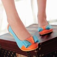 YESSTYLE: Grace Candy- Bow-Accent Color-Block Flats - Free International Shipping on orders over $150