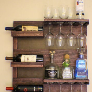 Rustic Dark Cherry Stained Wall Mounted Wine Rack with Shelves and Decorative Mesh, Wine and Liquor…