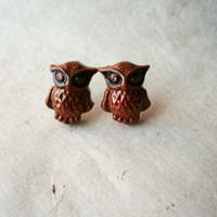 Woodland Owl Earrings. Handmade Polymer Clay Earrings. Autumn Jewelry. Hypoallergenic.  Fall Fashion Copper Bellied Bandit Owls. FSE1.