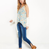 Sheer Floral Strappy Tank | Wet Seal