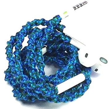 Wrapped Tangle Free Earbuds for iPhone MellowDee Cobalt Blue, Turquoise Aqua, and Forest Green with…