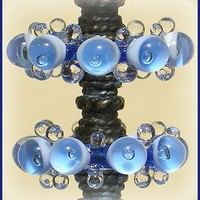 Lampwork Sapphire Beads, Handmade Bubble Lampwork Glass Beads Disc Set (6)