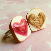 strawberry i heart you peanut butter and jelly best friend rings polymer clay bff